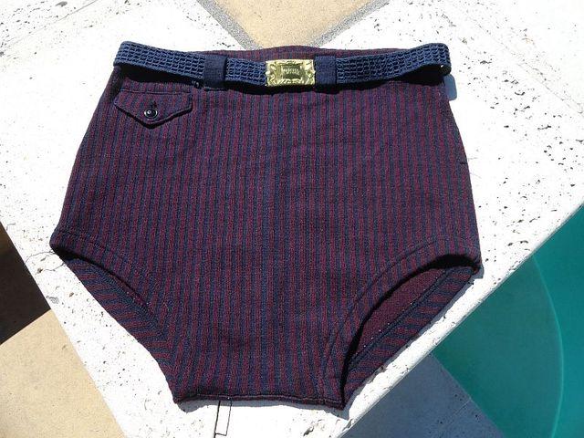 Vintage early 40s McGregor Navy & Maroon Wool Swim Trunks with Belt