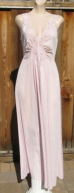 Vintage 70s Olga Pink Floral Lace Nightgown