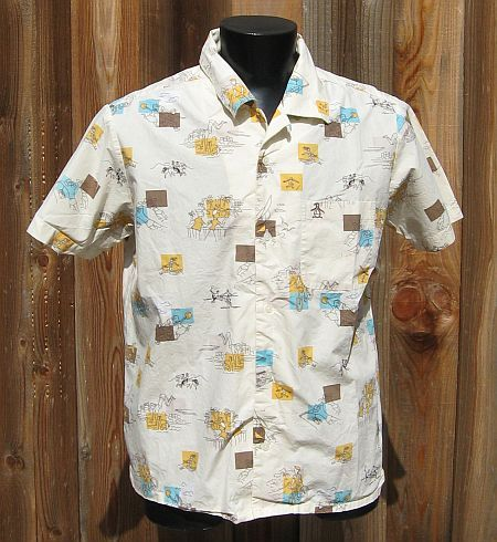 Vintage 60s Loop Collar Novelty Swimming Print Penguin by Munsingwear Shirt