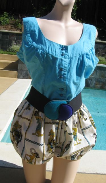 Vintage Turquoise Bubble Bottom Cotton Romper