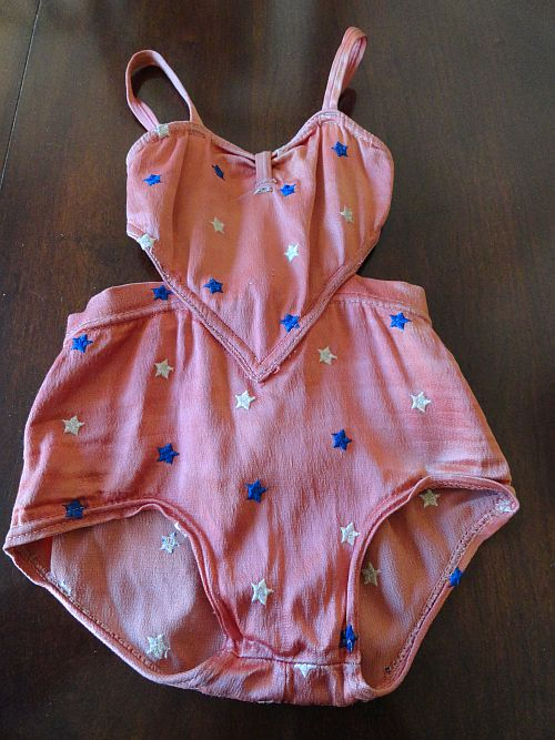Late 40s Ealy 50s Childs Catalina Embroidered Stars Patriotic Swimsuit with Cut Outs