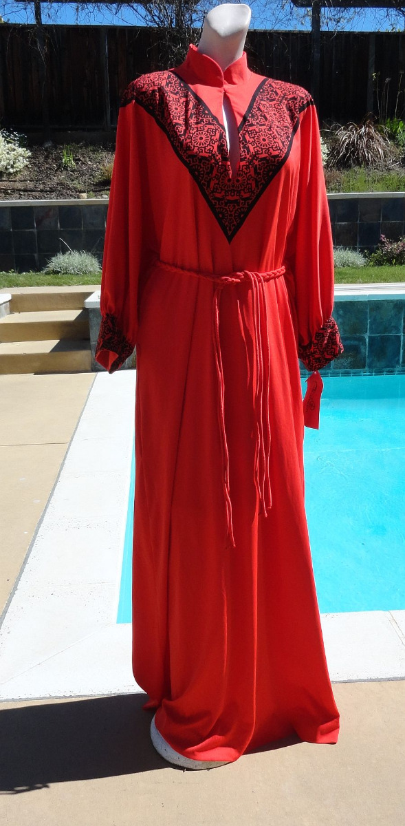 Vintage 70s Alfred Shaheen Hand Print Maxi Dress Gown Caftan size Large