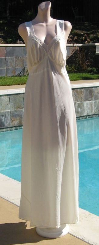 Vintage 40s Rhythm Lingerie White Satin Nightgown