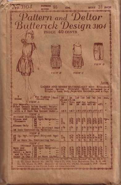 Vintage 1900s Butterick & Deltor Bathing Suit Knickers and Cap Pattern