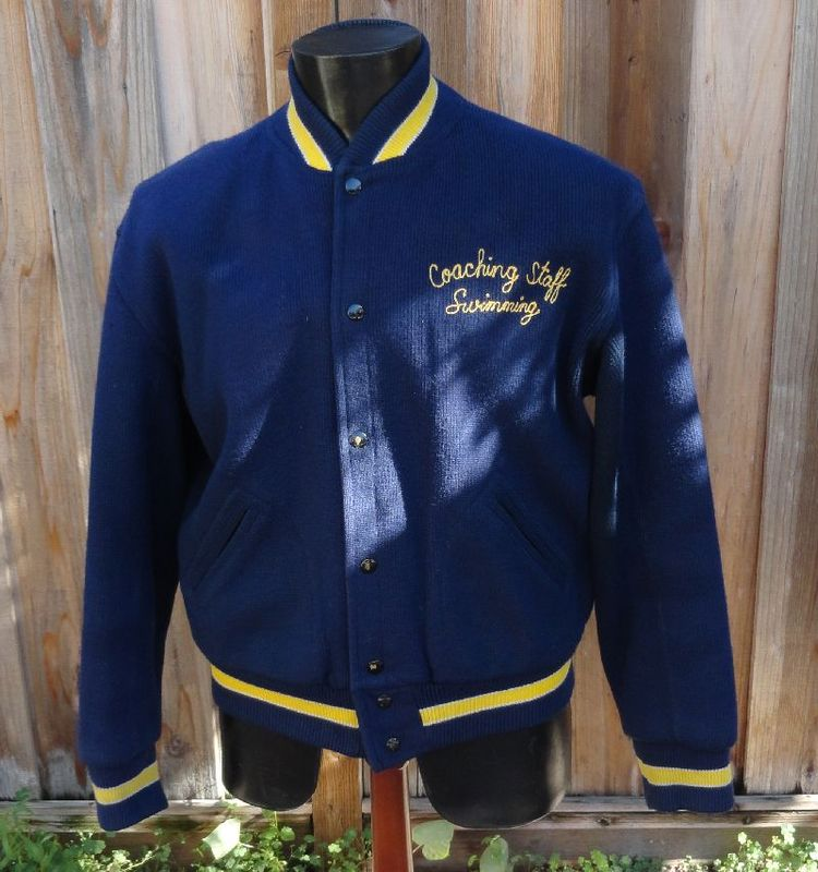 Vintage 50s Navy SWIMMING COACH Sand Knit Jacket