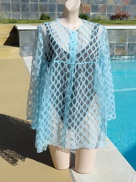 Vintage 1960s Catalina Light Blue Lace Baby Doll Cover