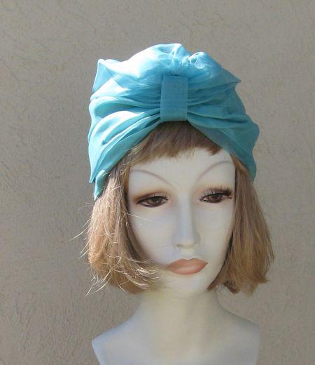 Vintage Silk Chiffon Turquoise Turban Hat Cap NWT