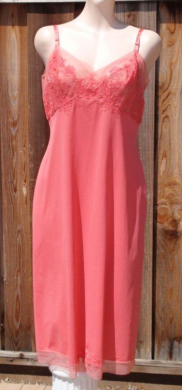 Vintage 50s Vanity Fair Coral Pink Nylon Tricot Full Slip sz 38