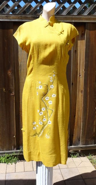 Vintage 60s Mustard Silk Linen Handpainted Cherry Blossom Dress