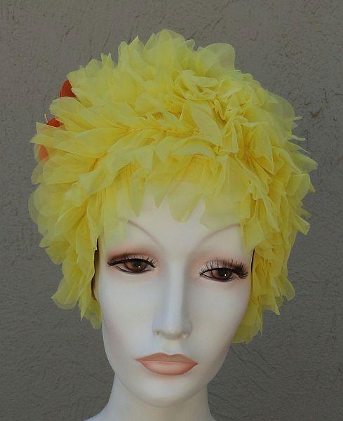 NOS KLEINERTS Sava Wave Yellow Ruffled Floral Swim Cap