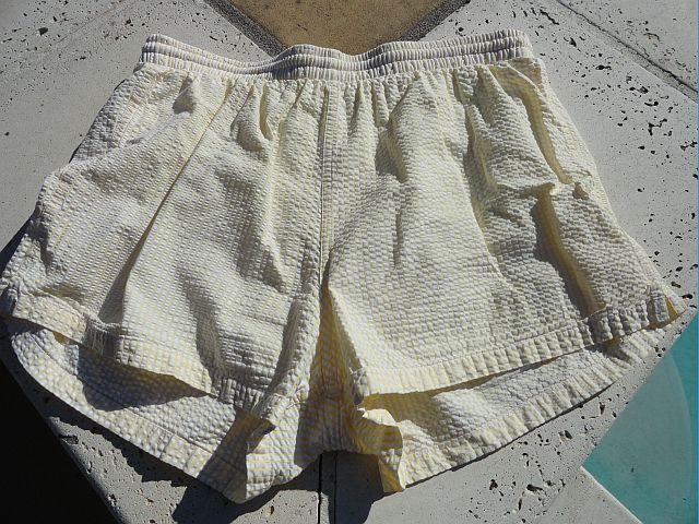 Vintage 80s Mens Reyn Spooner Yellow Seersucker Swim Trunks