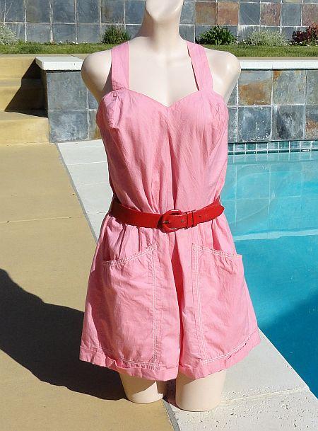 Vintage 40s Queen Casuals Pink Cotton Romper Playsuit