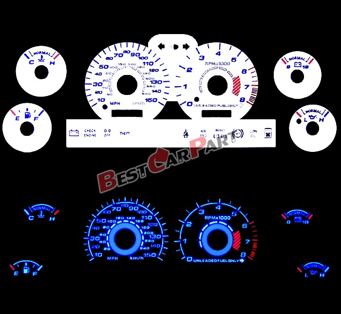 WHITE 96-98 Ford Mustang 4 6 V8 GT BLUE INDIGLO Reverse EL