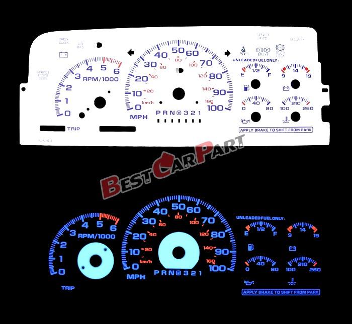 Blue 95 98 Chevy C K 1500 Silverado White Face Reverse