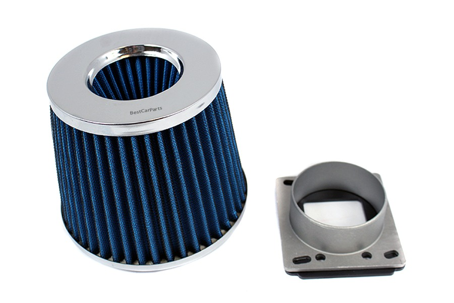 BLUE FILTER For 86-94 Mazda 323 1.6 1.8 L4 AIR INTAKE MAF Adapter