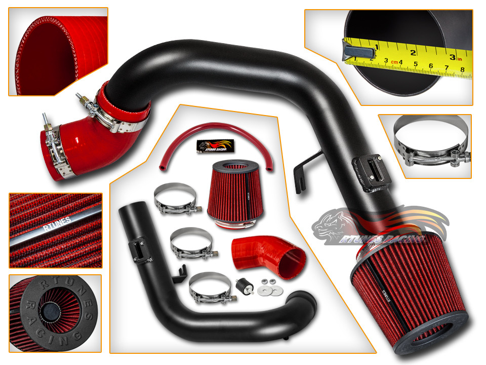 Rtunes Matte Black//Red 12-15 Camaro V6 3.6L Heat Shield Cold Air Intake Filter
