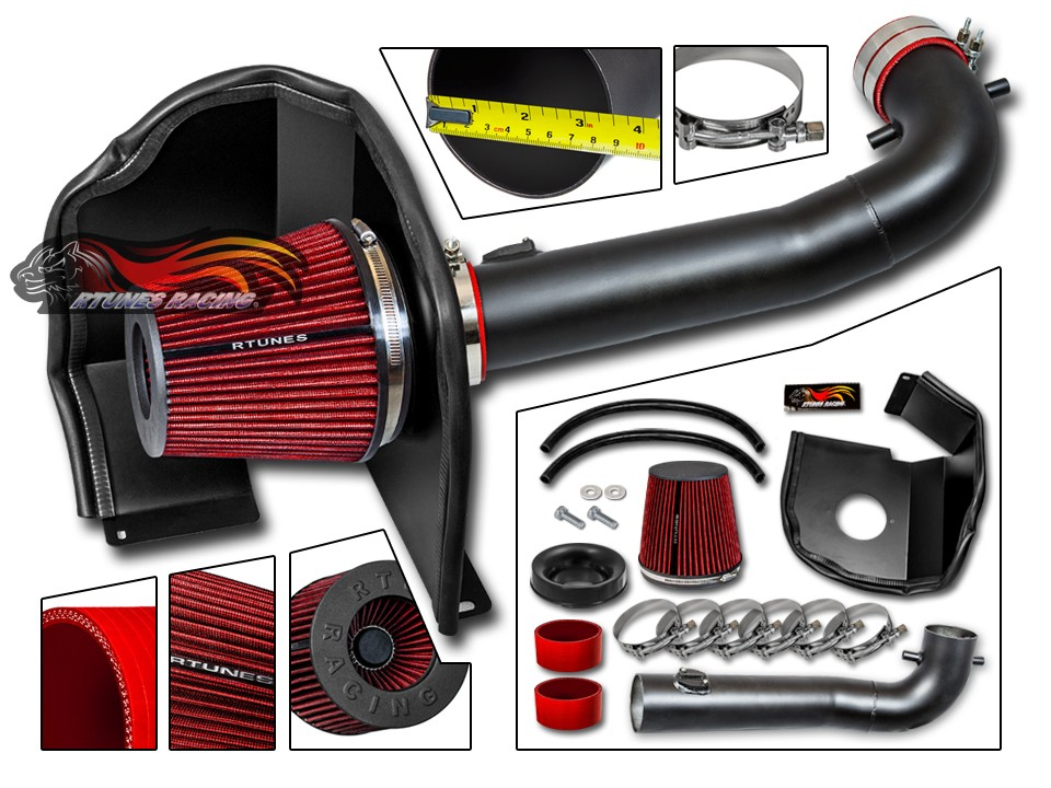 """3.5/"""" RED Heat Shield Cold Air Intake Filter For 15-19 Escalade//Yukon 5.3L//6.2L"""