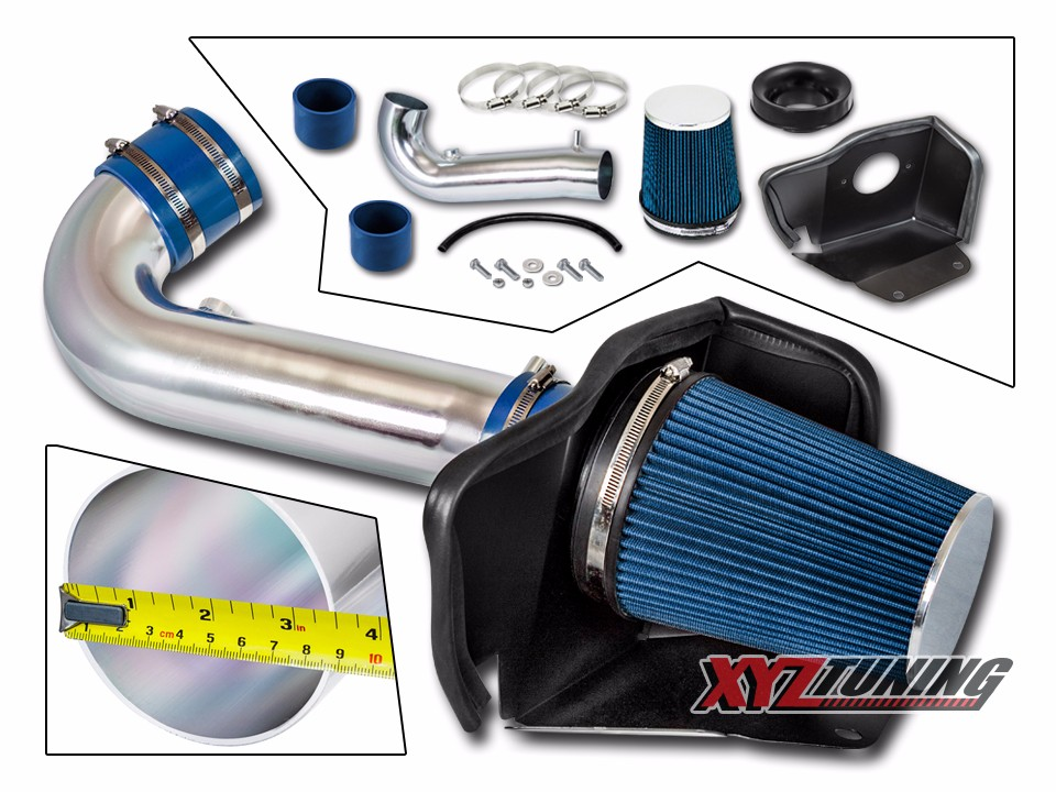 "3.5/"" BLUE Heat Shield Cold Air Intake For 09-13 Silverado//Sierra 1500 Denali V8"