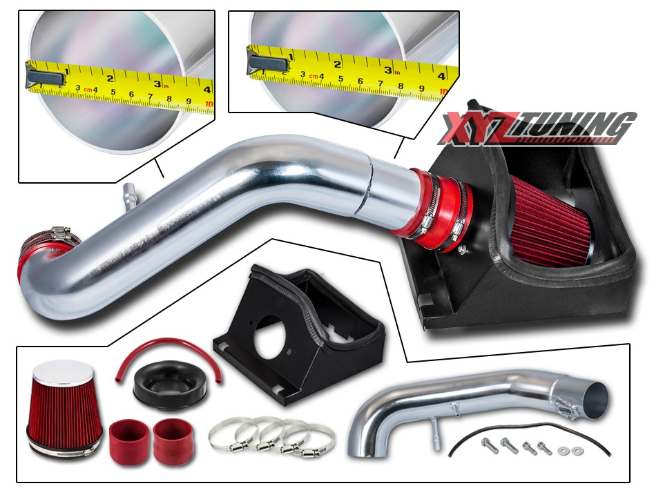 """RED Filter For 11-14 Ford Mustang 5.0L V8 4/"""" Heat Shield Air Intake Kit"""