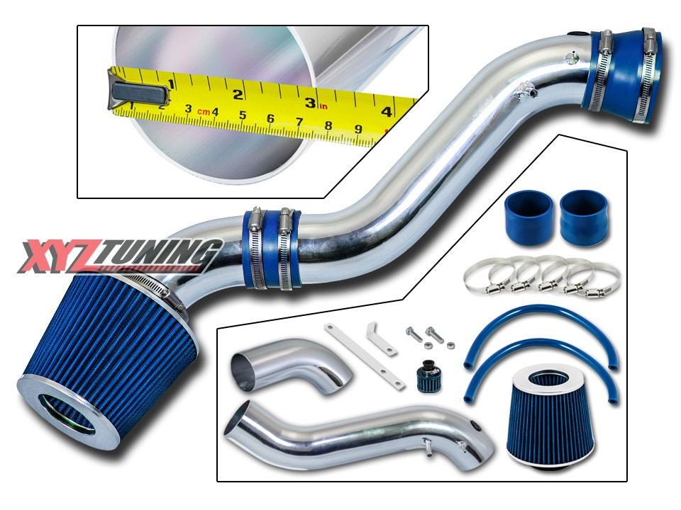 "BLUE 2001 2002 2003 Ford F150 4.2L V6 Short Ram Air Intake Kit Filter 3/"""