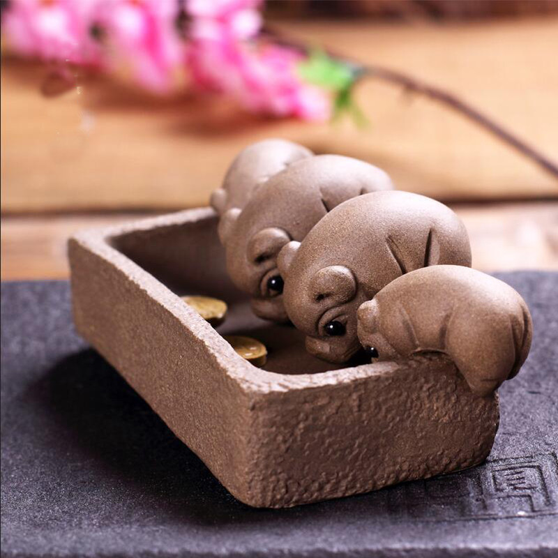 10Pcs YiXing Handmade Tea Pet Purple Clay The Simulation Peanut Tea Decoration