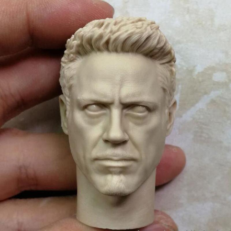 1//6 Scale Iron Man Tony Stark Robert Downey Jr Head Sculpt