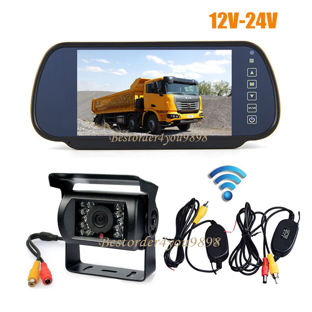 """7/"""" TFT LCD Car Monitor with Wired Backup Rear View Camera DC 12V Night Vision IR"""