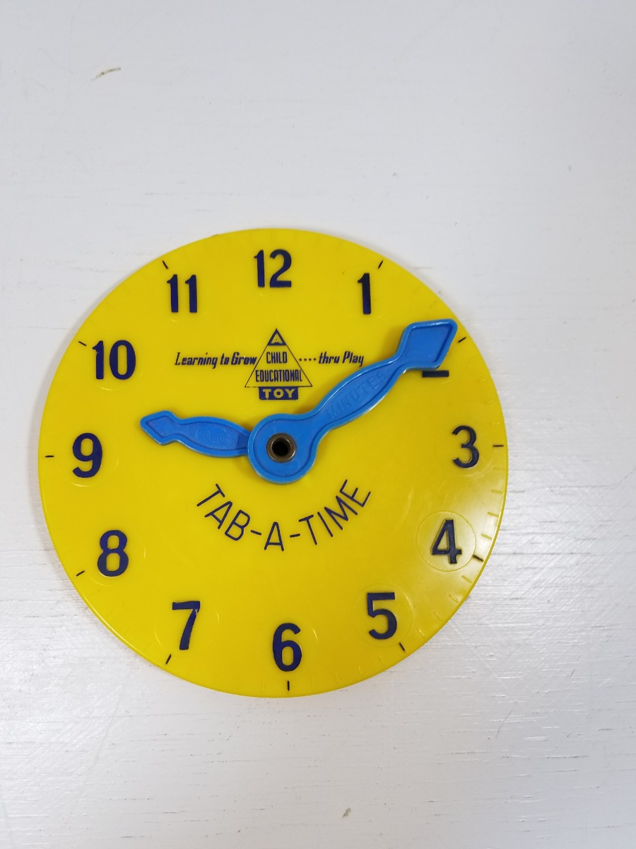 Vintage Tab A Time Yellow Plastic Analog Clock A Child Educational Toy Ebay The clock is free, easy to use, can be used online or downloaded, and works fullscreen! details about vintage tab a time yellow plastic analog clock a child educational toy