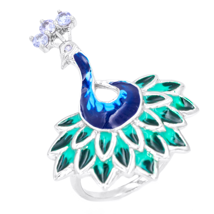 over platinum sterling ring cts itm tanzanite silver size tgw peacock