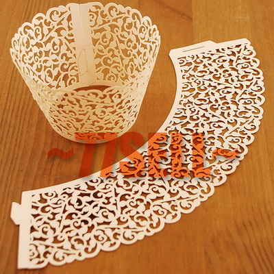 White Ivory Cream Ivy Vine Cupcake Wrappers Luxe Wedding Party Cake Case Decor