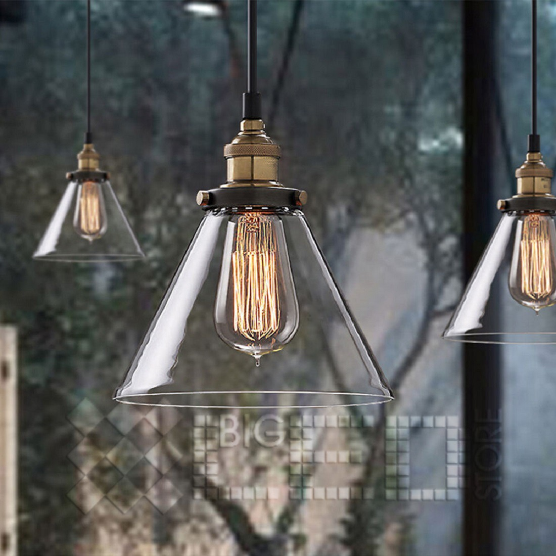 Vintage Industrial Glass Pendant Light: MODERN VINTAGE INDUSTRIAL METAL LOFT GLASS CONE CEILING