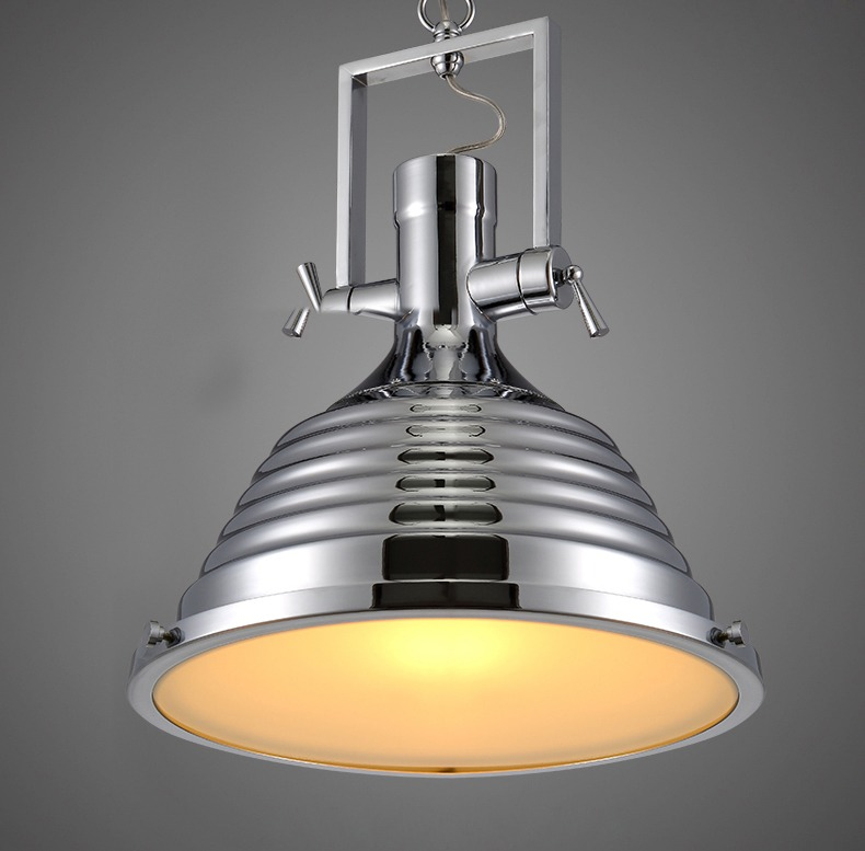 Modern Industrial Wave Nautical Chrome Pendant Lamp