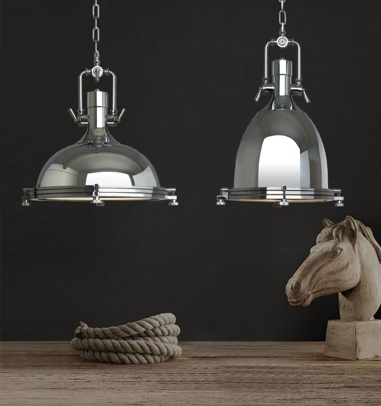 Nautical Shade For Vintage String Lights: Modern Industrial Retro Nautical Chrome Pendant Lamp Large