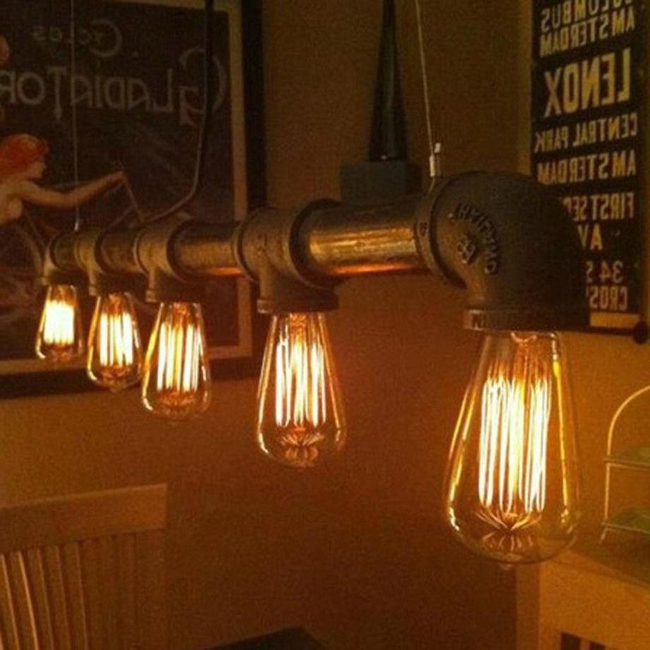 industrial vintage metal pipe pendant lamp steampunk ceiling light chandeliers ebay. Black Bedroom Furniture Sets. Home Design Ideas