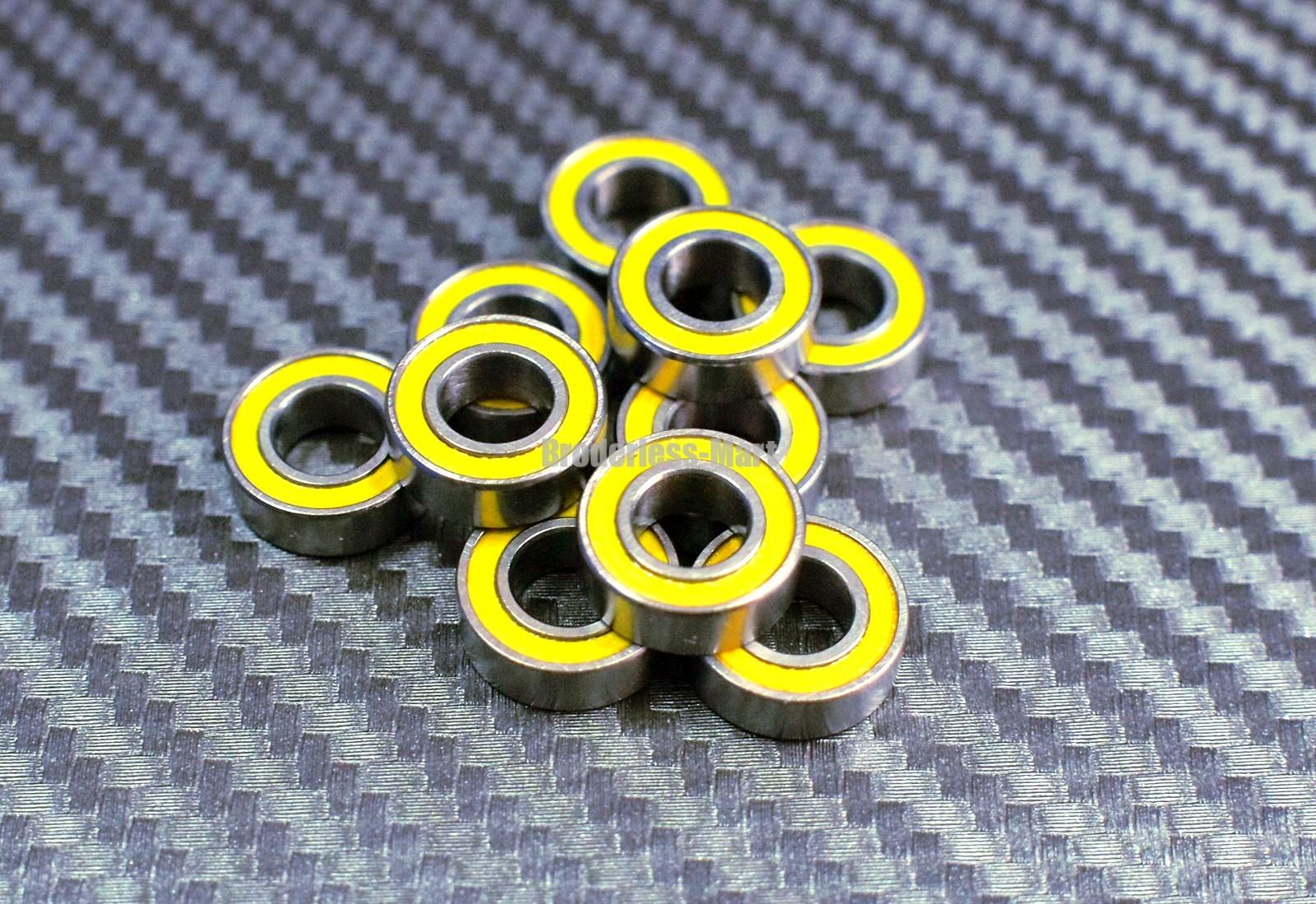6x10x3 mm 4 Pcs Rubber Ball Bearing Bearings YELLOW 6*10*3 MR106RS MR106-2RS