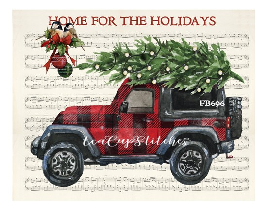 Christmas Jeep.Details About Vintage Red Plaid Jeep Home For The Holidays Christmas Print On Fabric Block 696