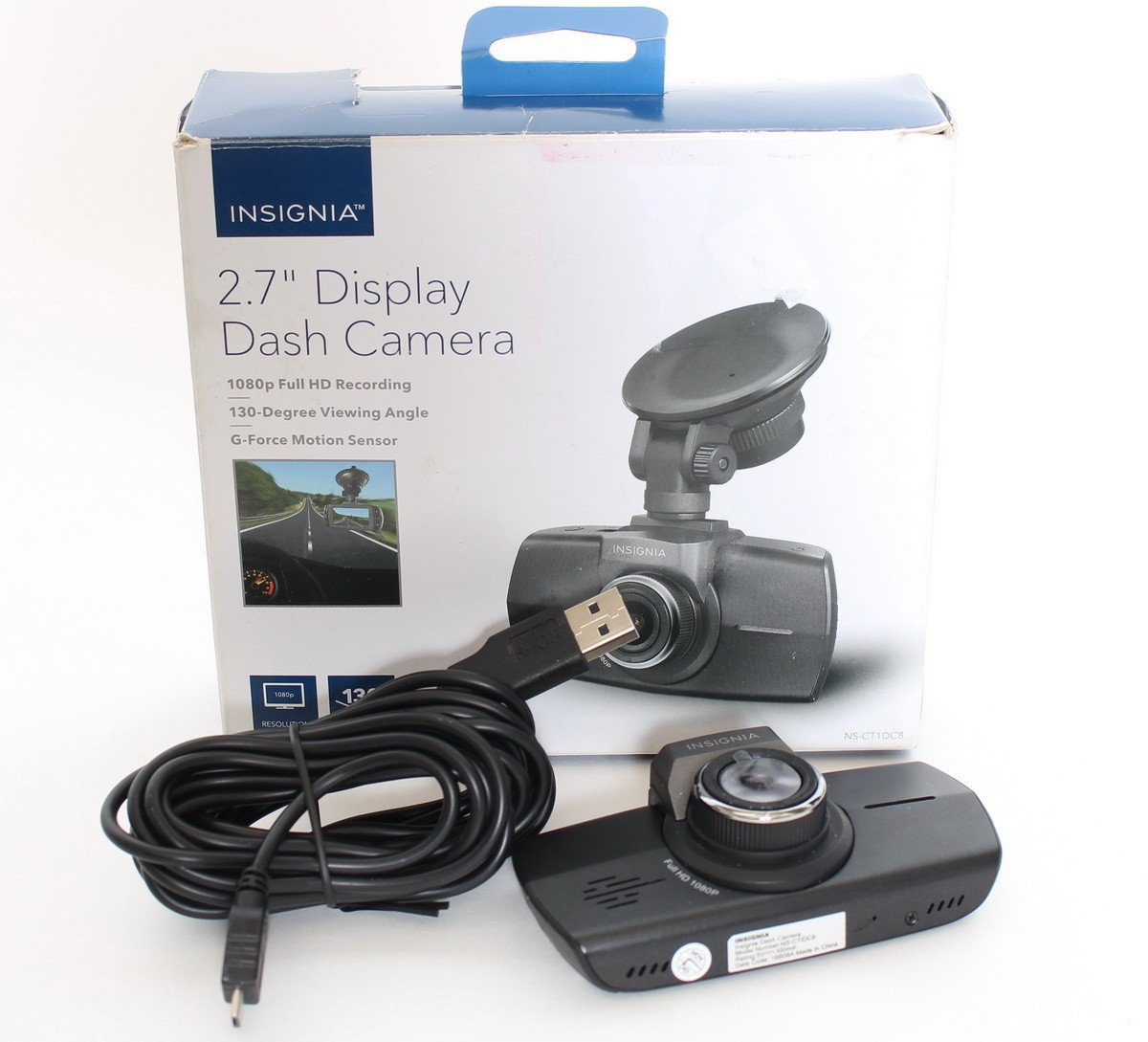 Full HD Dash Cam Black Insignia NS-CT1DC8