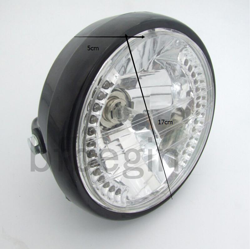 7 schwarz motorrad h4 35w 12v scheinwerfer blinker led. Black Bedroom Furniture Sets. Home Design Ideas