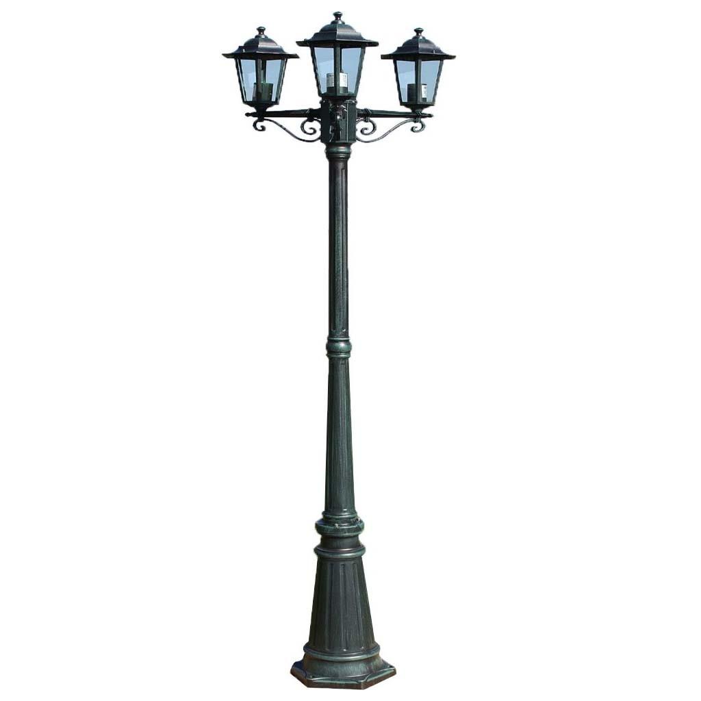 vintage style 3 way triple head outdoor garden light lamp post lamppost lantern ebay. Black Bedroom Furniture Sets. Home Design Ideas