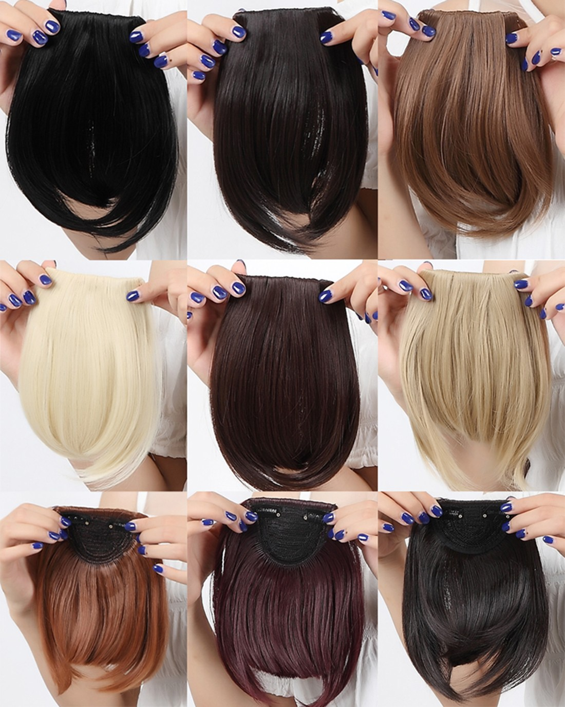 Us Clip In On Bangs Fringes Hair Extensions Black Brown Blonde Neat