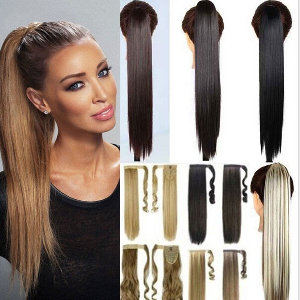 Hair Tape Wrap Around On Pony Tail Clip In Hair Extensions As Human