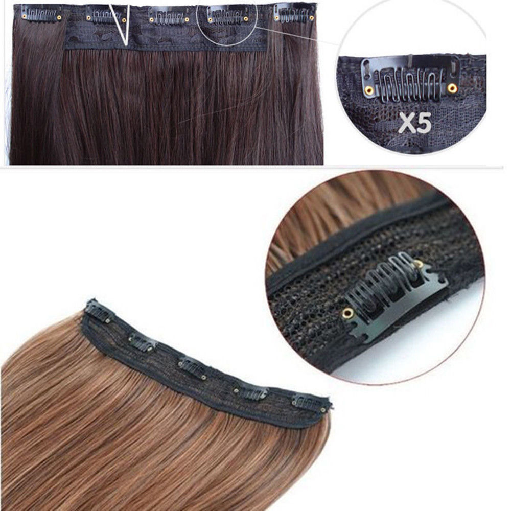 Straight Wavy Curly 34 Full Head Clip In Hair Extension One Piece 5
