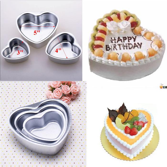 7 Sizes Heart Shape Cake Decorating Aluminum Tins Pan