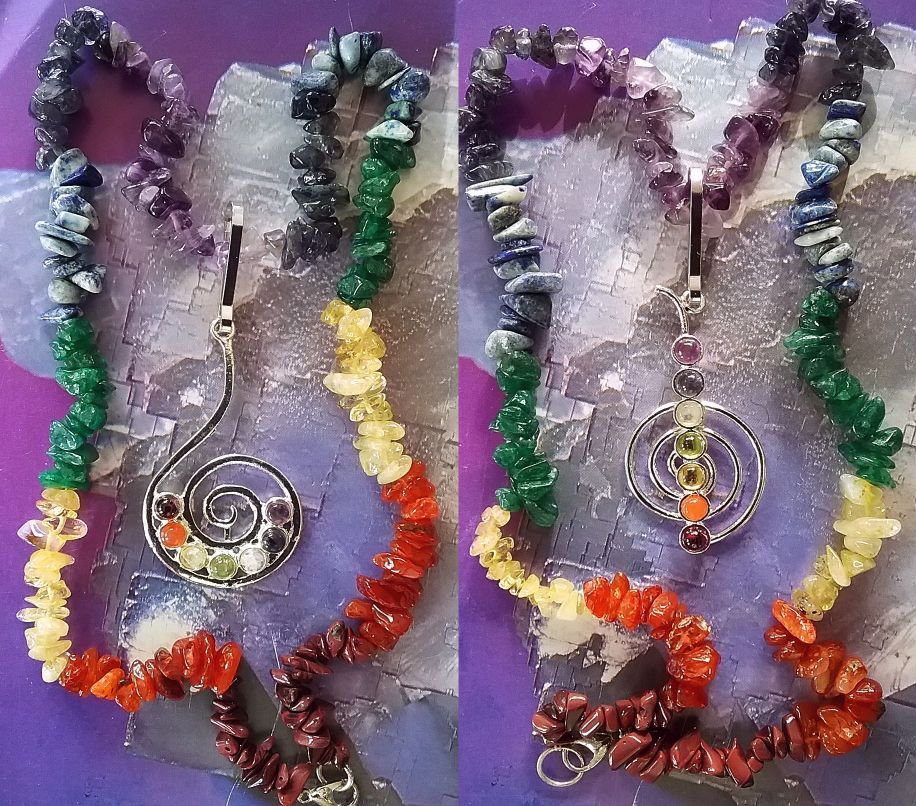 Pretty Crystal Chakra Colours Sacred Spiral Pendant Silver Plated /& Chain