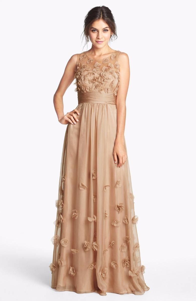 JS Collections Floral Appliqué Chiffon Gown Dress Sz 8 Champagne ...