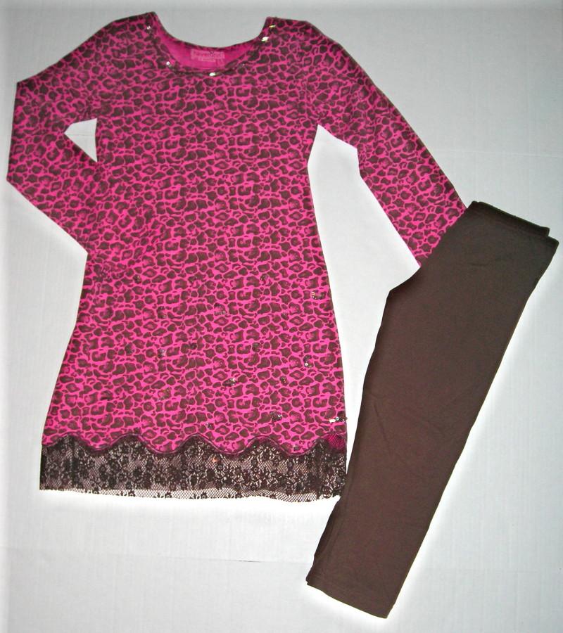 Haven Girl Pink Leopard Dress Legging Set 7 8 s 14 L