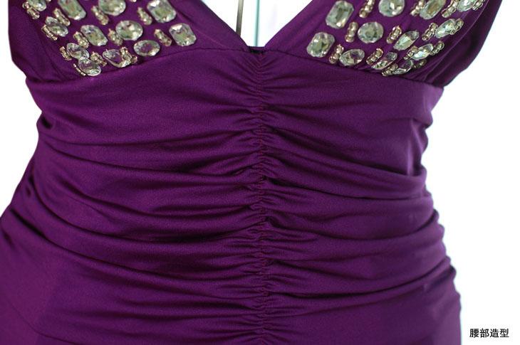 Jewel Deep V neck Strappy Halter Evening Gown Long Dress 4807#