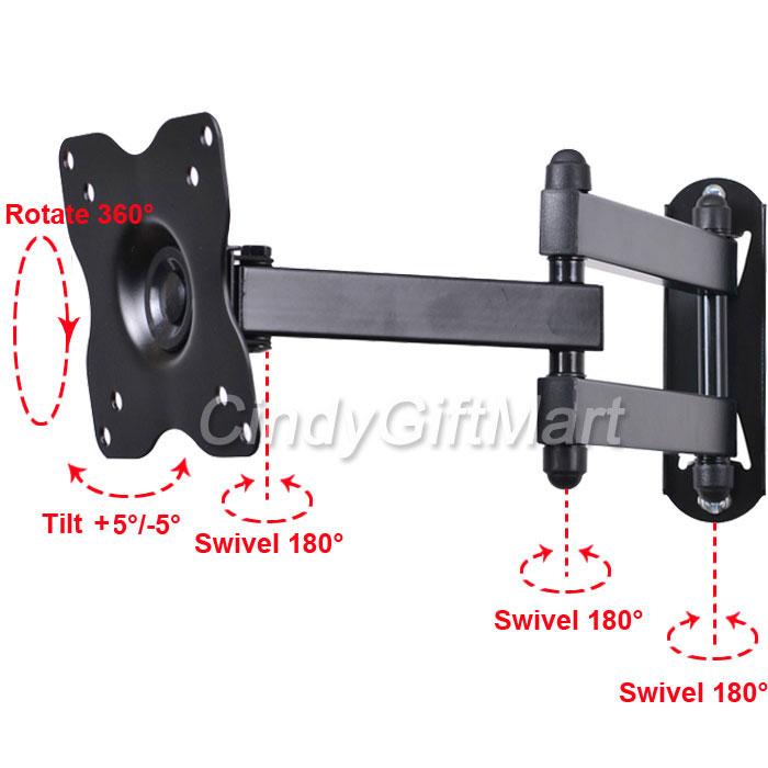 Articulating Swivel Tilt LCD LED TV Monitor Wall Mount 15 19 21 22 23 26 27 3KX
