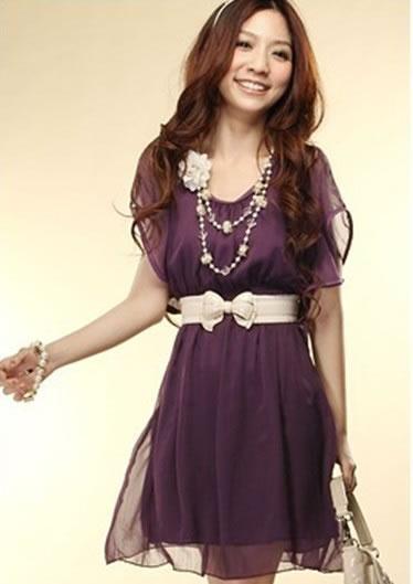 2012 новой корейских женщин сплошной цвет короткий рукав ruffles тонкой шифона платье детей...