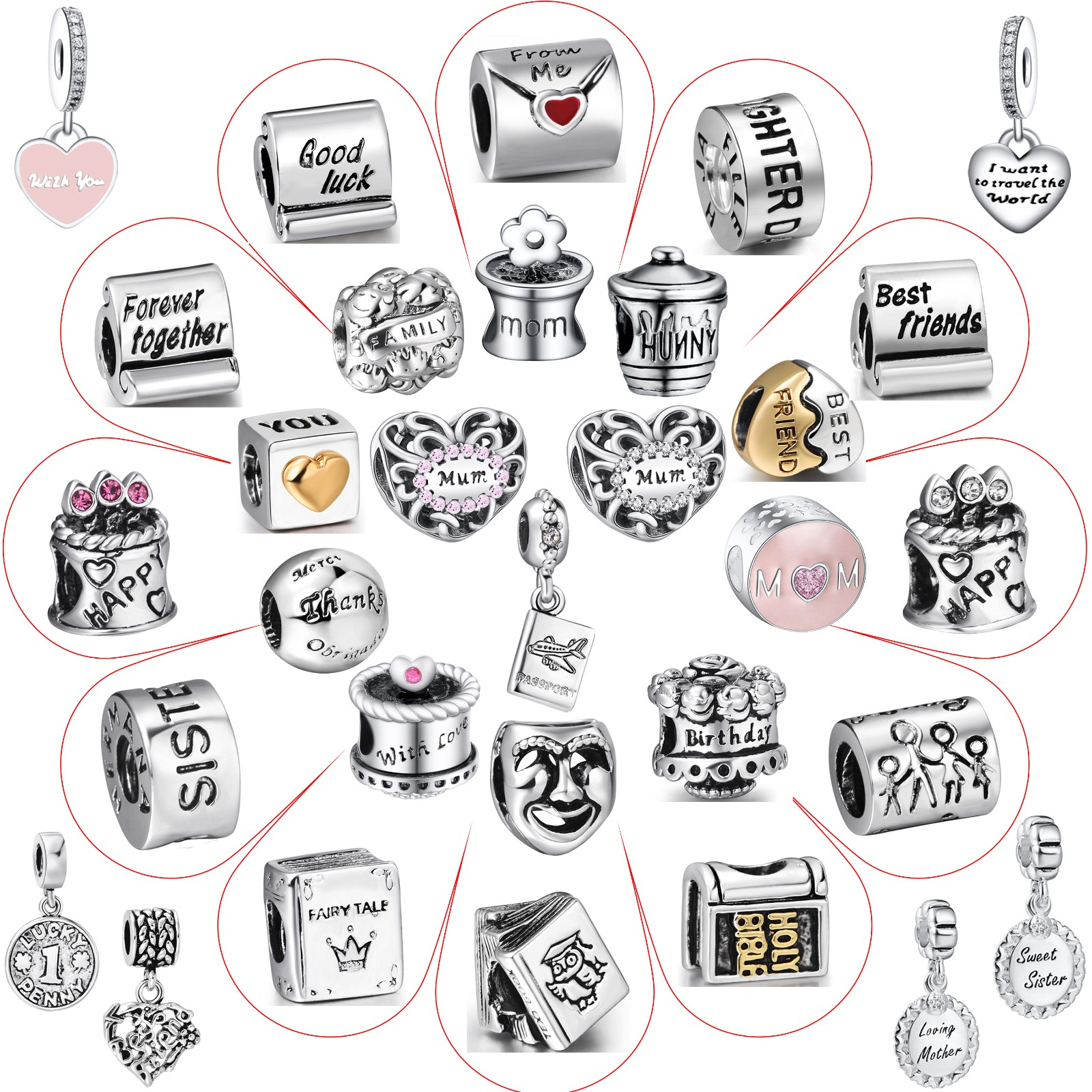 US Passport USA Travel .925 Solid Sterling Silver European Dangle Bead Charm for Pendant or Bracelet by Charm Crazy